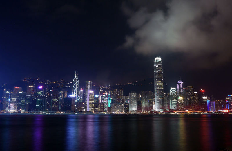 Iconic skyline Capital Cities  Cities At Night City Cityscape Financial District  Hong Kong Hong Kong Harbour Illuminated Light Modern Night Reflection Sky Skyline Travel Destinations Water Waterfront