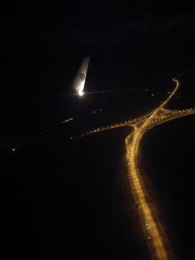 Colour Of Life Road Night Night Lights Plane Flight Road From Sky Lights