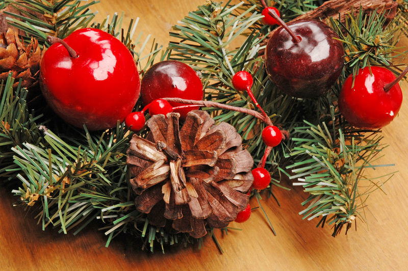 Celebration Celebration Event Christmas Christmas Decoration Christmas Ornament christmas tree Decoration Food Food And Drink Fruit Holiday Holiday - Event Indoors  Needle - Plant Part No People Pine Cone Pine Tree Red Still Life Table Tree