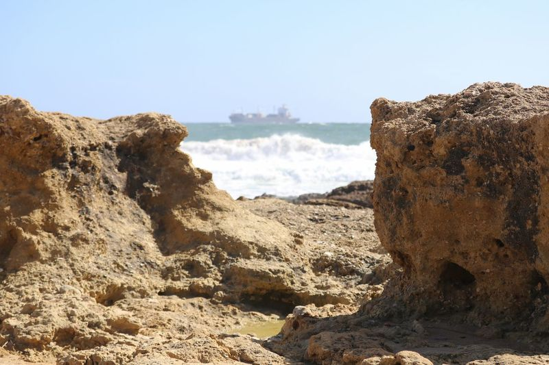 Beach Beachphotography Cargo Ship Cliff Cliffside Eye4photography  EyeEm Best Shots EyeEm Nature Lover EyeEmBestPics Seaside Ship Waves Crashing Waves, Ocean, Nature