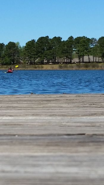 I used my sunglasses as a filter. Just a quick shot over the dock taken in April 2017. Water Outdoors Kyaking
