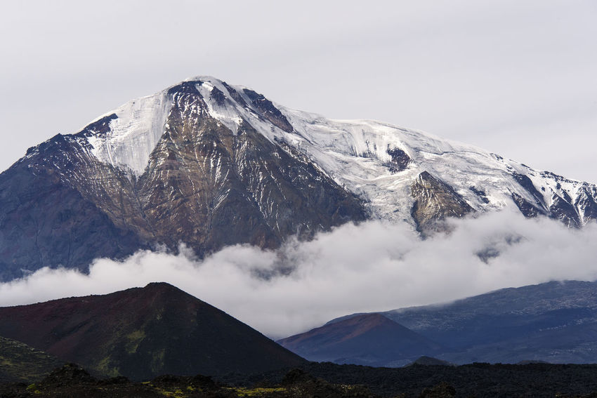 Ice-capped volcano at Kamchatka (Tolbachik) Far East Kamchatka M Mountain Mountains Russia Snow Snow ❄