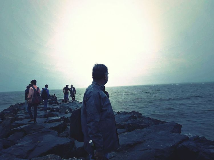 Water Sea City Beach Men Sunset Sky