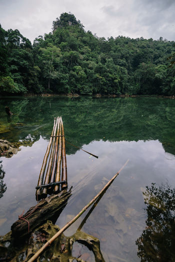 Wooden raft in calm lake against trees