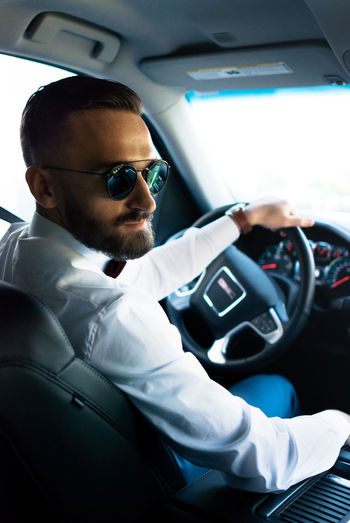Second Acts Car Sunglasses Car Interior Transportation Vehicle Interior Driving One Man Only Mode Of Transport Adult One Person Land Vehicle Only Men Adults Only Sitting People Looking At Camera Men Technology Portrait Indoors