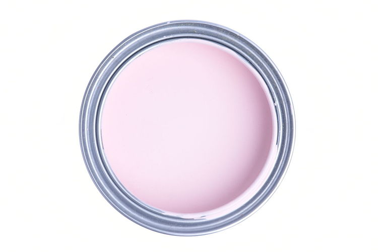 Can with pink paint isolated on white background, top view Pink Color Paint Can Improvement Renovation Painting Repair Symbol Round Top View Metal Tool Open Acrylic Decoration Circle Directly Above Pastel Button Oil Paint Liquid Isolated White Background