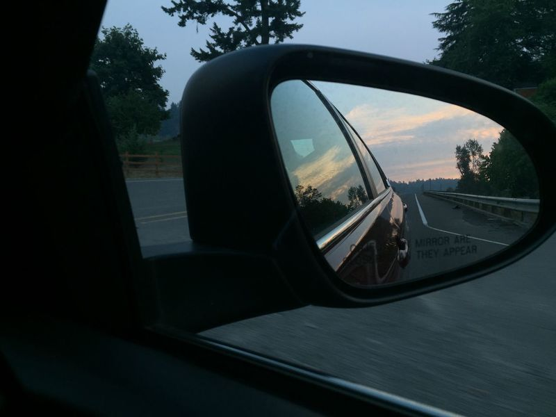 Mirrored sky and sunset Car Close-up Day Land Vehicle Mode Of Transport Nature No People Outdoors Reflection Road Road Trip Side-view Mirror Sky Transportation Tree Vehicle Mirror Window
