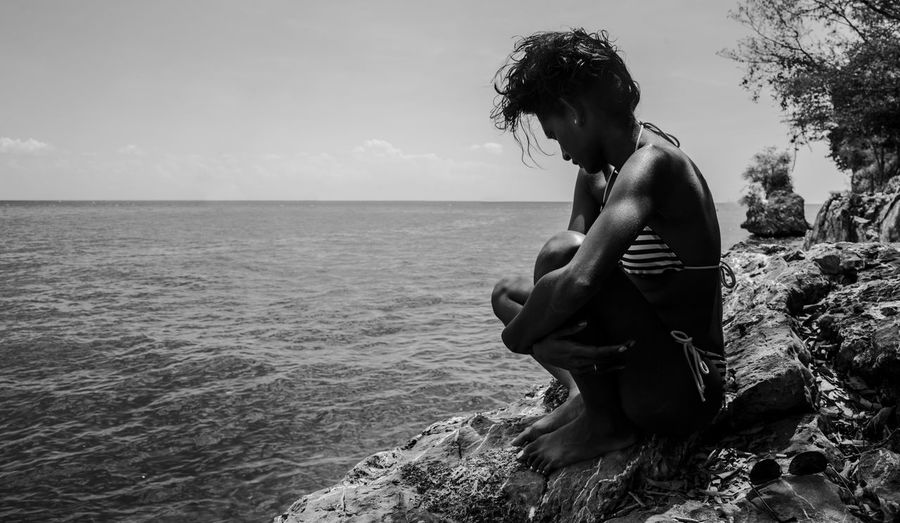 Trinidad Beauty In Nature Black And White Caribbean Horizon Over Water Leisure Activity Lifestyles Nature One Person Outdoors Real People Scenics Sea Sky Water Young Women Go Higher
