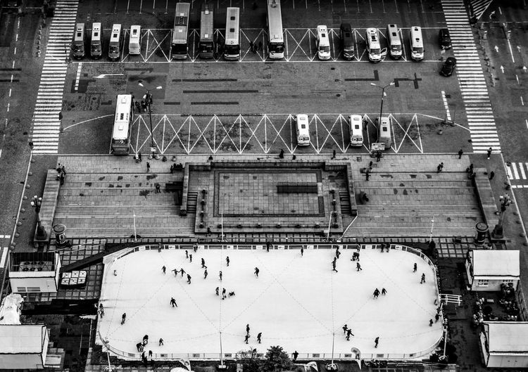 High angle view of ice rink in city