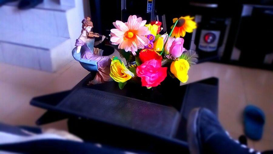 Mesa De Centro Flores Sinteticas