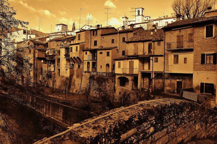 Architecture Borgo Antico Building Exterior Built Structure Cartolina City Day Fiume Giallo Italy❤️ Monochrome No People Outdoors Ponte Portico Di Romagna Sky Yellow Color