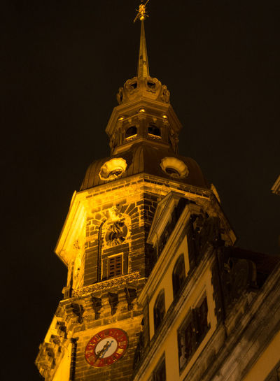 Low angle view of tower at night