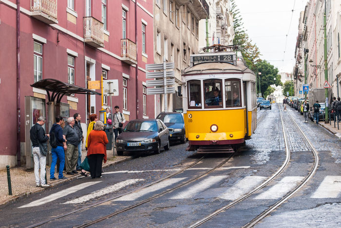 Architecture Building Building Exterior Built Structure Cable Car City City Life City Street Day Diminishing Perspective Land Vehicle Lisboa Lisboa Portugal Lisbon Lisbon - Portugal Lisbon Tram Mode Of Transport Outdoors Road Street The Way Forward Tram Tramway Transportation Yellow