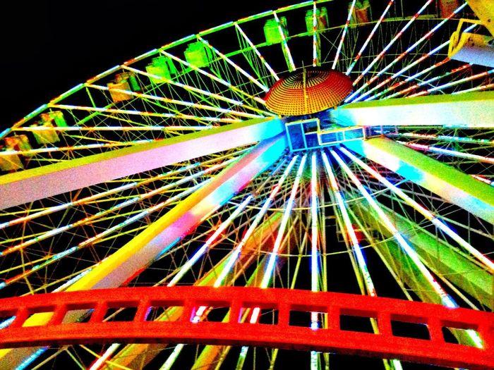 Ferris Wheel Multi Colored Amusement Park Arts Culture And Entertainment Amusement Park Ride Close-up Sky