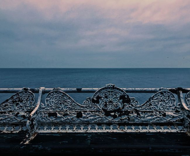 Take a seat Metal Sea Water Horizon Over Water Outdoors Sky No People Tranquility Scenics Steel Beach Day Harbor Nature Close-up Beauty In Nature