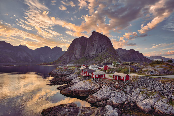 Landscape of Reine in Lofoten, Norway Norway Reine Architecture Beauty In Nature Built Structure Cloud - Sky Hamnøy Idyllic Lake Lofoten Mountain Mountain Range Nature No People Non-urban Scene Outdoors Rock Scenics - Nature Sky Solid Sunset Tranquil Scene Tranquility Transportation Water