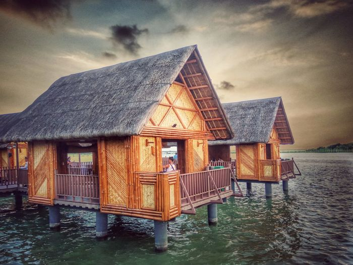 Kulotitayclicks Xiaomiphotography XiaomiPhilippines Shotbymi Xiaomiredminote3 Water Sea Stilt House Sunset Sky Architecture Built Structure Cloud - Sky Hut Horizon Over Water