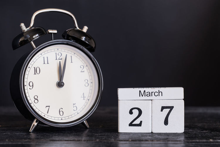 27 Alarm Clock Black Background Clock Close-up Date Night Day Indoors  March Month No People Number Time