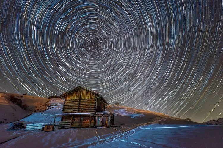Startrails over Val Lumnezia / Switzerland Astrophotography Startrails Snow Cold Temperature No People Architecture Built Structure Winter Nature
