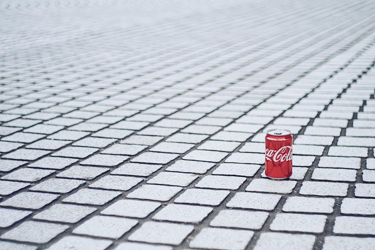 Coca Cola Red Footpath No People Day Paving Stone Stone Safety Shape Focus On Foreground Pattern