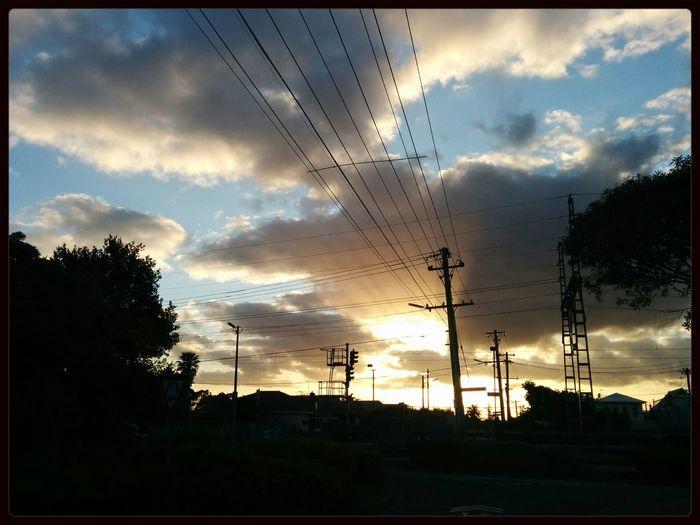 Sunset Power Lines Sun Rays