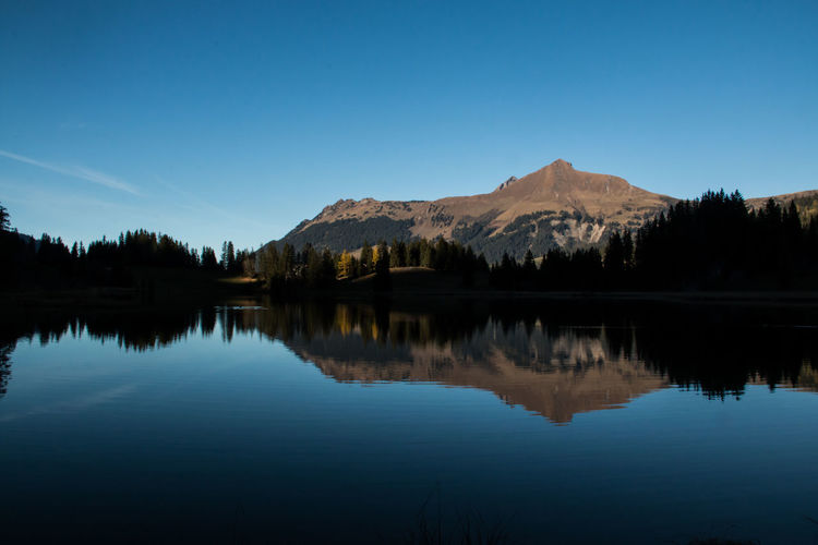 Scenic View Of Calm Lake And Mountain Against Blue Sky