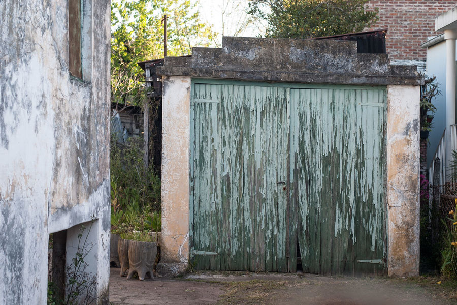 Architecture Building Exterior Built Structure Closed Closed Door Damaged Day Discarded Door Doorway Entrance Entry Entryway Front Door House Obsolete Old Outdoors Residential Structure Tree Weathered