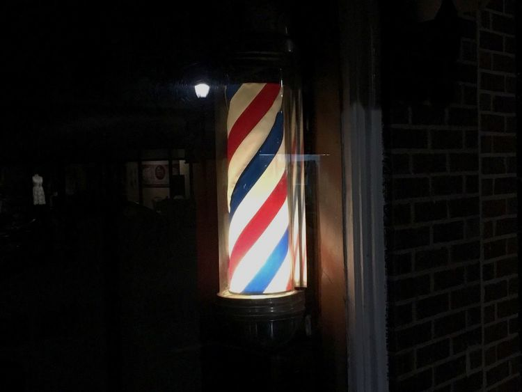 Love old school barber shops for this very reason❤️ Barbershop Barber Shop Barberpoles Barberpole No People Greer, SC Southcarolinapictures Cityscapes Photowalk Greer Sc Greersouthcarolina IPhoneography Nightphotography Nighttime