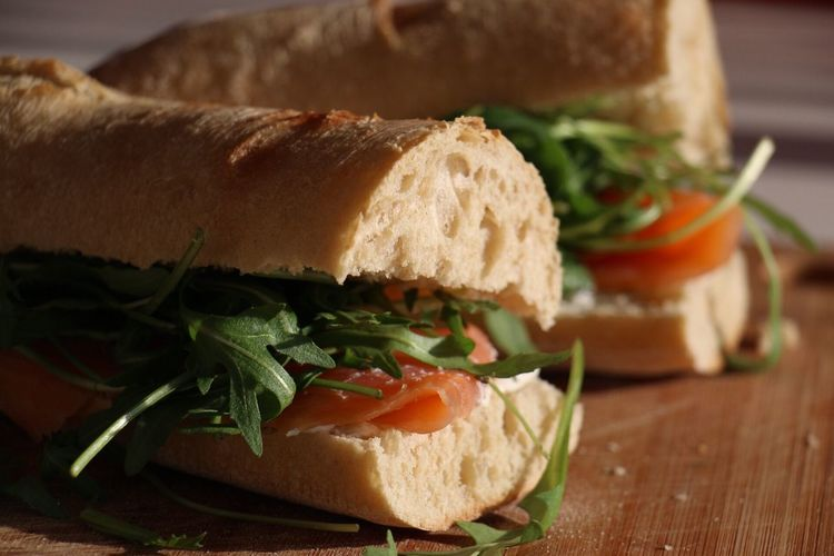 Close-up of sandwich on table