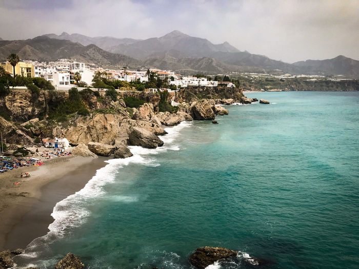 Like a Postcard Nerja Nerja Andalucia Architecture Beach Beauty In Nature Building Exterior Built Structure Clouds Day Idyllic Land Mountain Mountain Range Nature Outdoors Scenics - Nature Sea Sky Tranquil Scene Tranquility Water