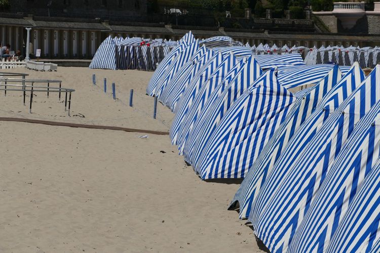 Sand Beach Dinard Brittany France Beach Photography Beach View Beach Time Beach Tent Striped Canopy Blue Stripes Pattern Stripes Stripes Everywhere