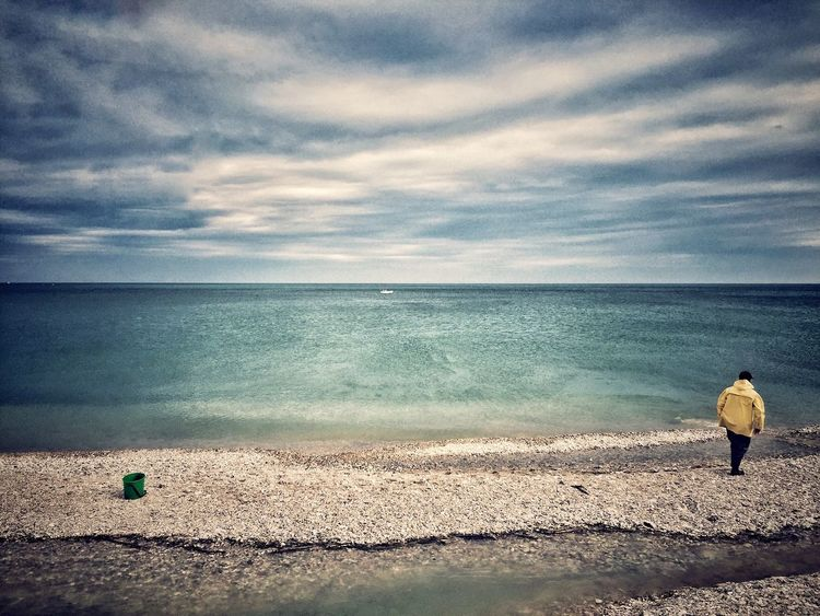 Thecolorofthesea Sea Beach Autumn Horizon Over Water Cloud - Sky Water Sand Sky Scenics Nature Real People One Person Beauty In Nature Outdoors Shore Full Length Day Tranquility Tranquil Scene One Man Only Italy Marche Fano Iphone6