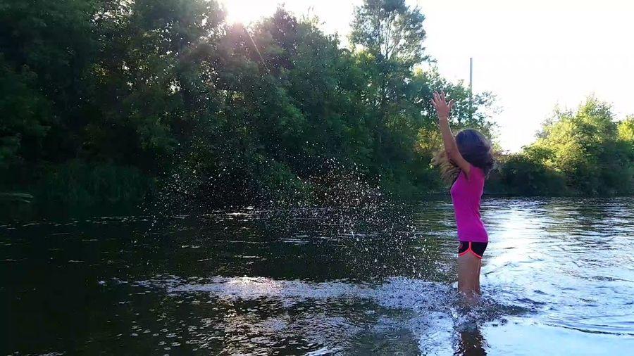 Water Child Tree Childhood Full Length Standing Spraying Girls Playing Summer