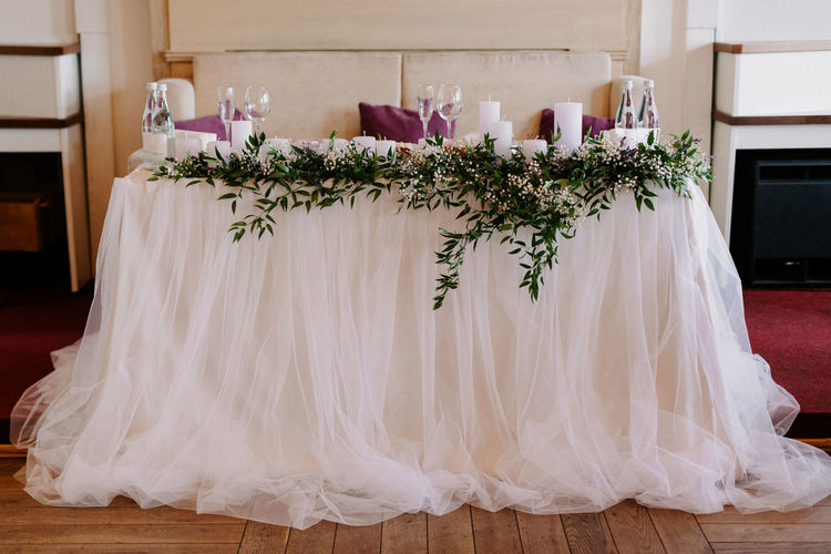 Decorated dining table at home