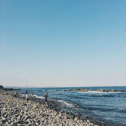 Silence Blue Wave Sea And Sky Blue Sky Sea Fishing Fisherman