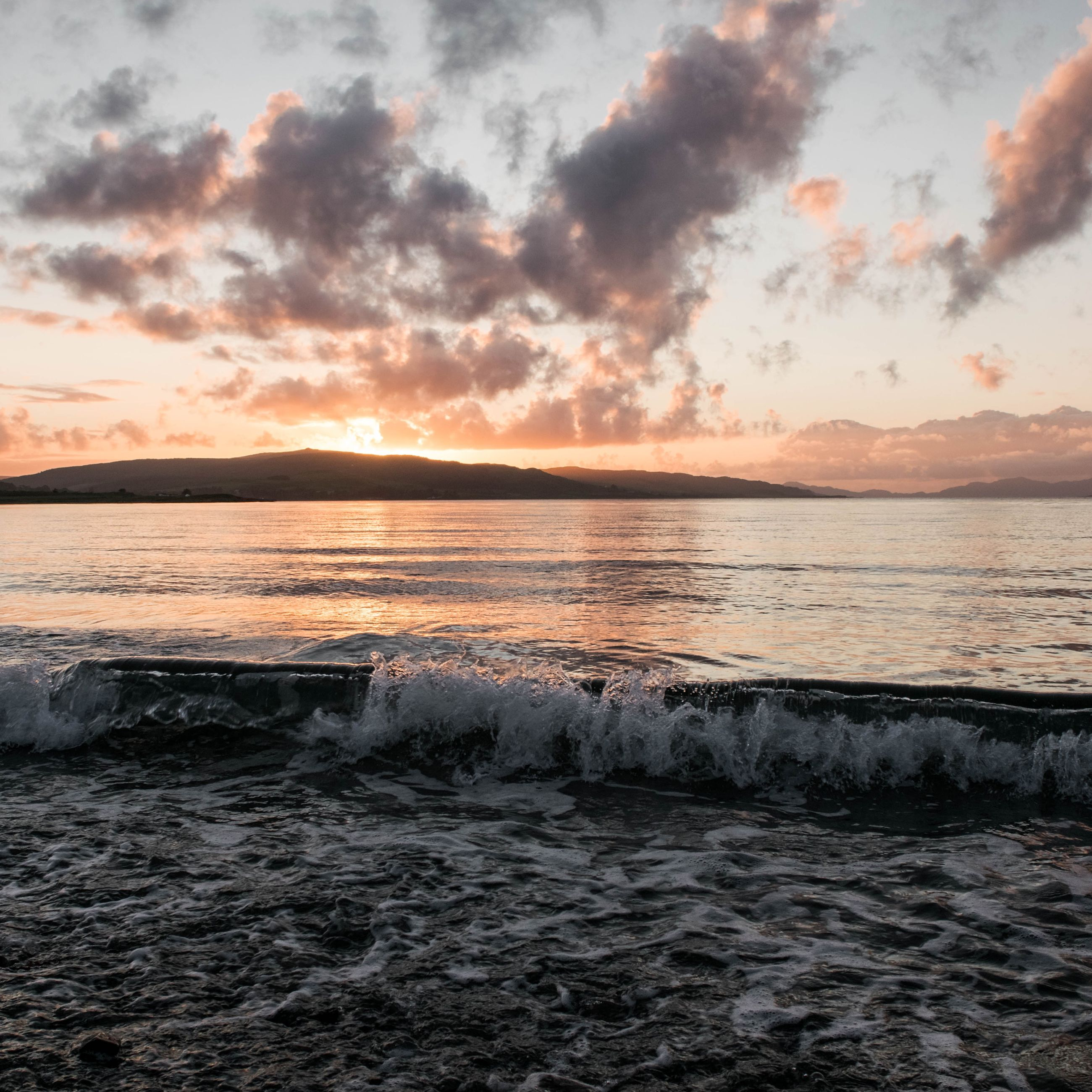 water, sea, sunset, scenics, sky, beauty in nature, tranquil scene, tranquility, cloud - sky, nature, wave, waterfront, idyllic, beach, shore, rippled, horizon over water, cloudy, cloud, mountain