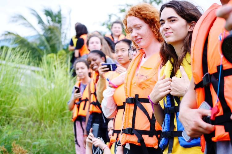 Waiting for the boat. Rural Scene Thailand Life Vest Highschool Girl Tourism Education EyeEm Selects Young Women Friendship Women Group Of People Smiling Summer