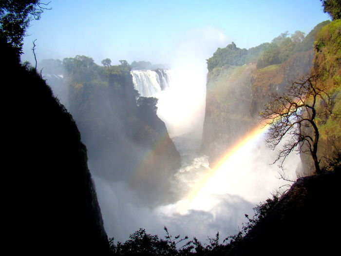 View on the Vicfalls from the Zambian border EyeEmNewHere Sambia Viktoriafälle Zimbabwe Africa Beauty In Nature Colorful Day Forest Motion Mountain Nature No People Outdoors Power In Nature Rainbow Rainbow Colours Scenics Sky Tree Vicfalls Victoria Falls Water Waterfall Waterfront