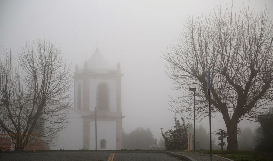 Church in near morning Portugal Alcacer Do Sal Tree Plant Architecture Fog Built Structure Nature Building Exterior Religion Building Spirituality