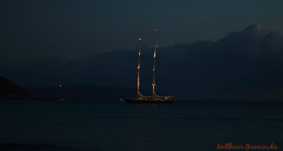 Boat Cloud - Sky Dark Idyllic Mode Of Transport Nautical Vessel Night No People Outdoors Sailboat Sea Sky Water