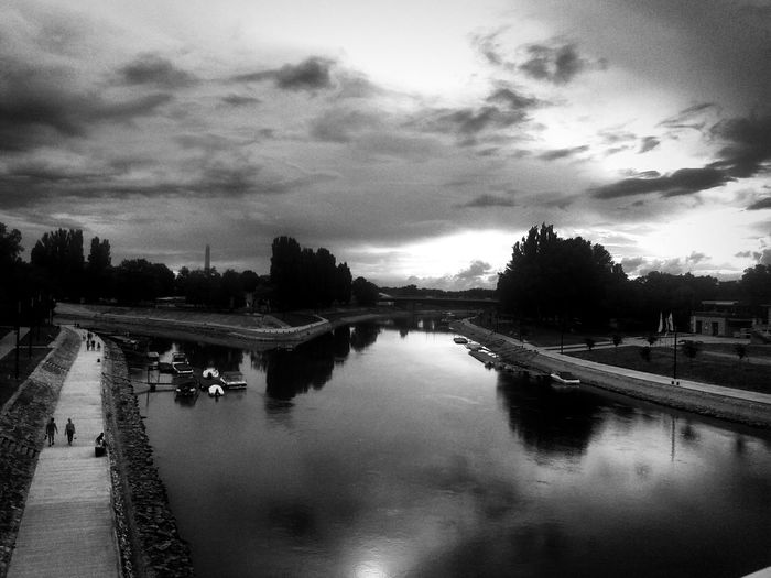 Blackandwhite Photography Sky River Danube Raab Tree Water Reflection Sky Cloud - Sky Bridge - Man Made Structure Waterfront Overcast Weather Scenics