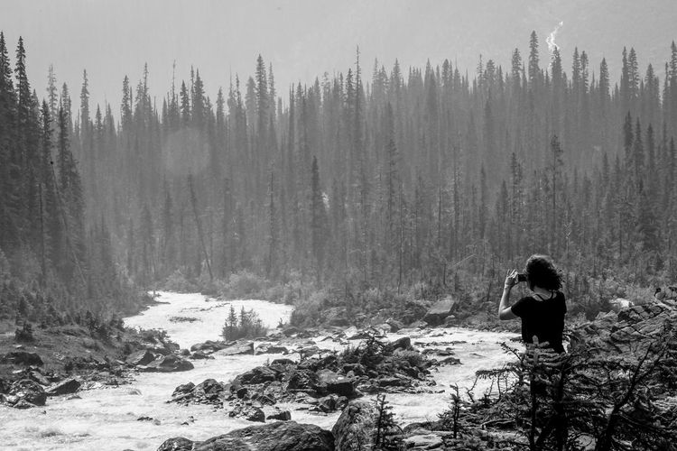 hiker taking a shot down stream in BC falls Water Blackandwhite Monochrome Country River person Takakkaw Falls Tree Forest Pine Tree Mountain Sky