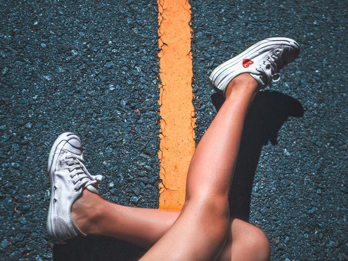 please walk in different ways Road Streetphotography Street Wallpaper Yellow Magical Dreamer Lamp White Feeling Art Low Section Tennis Athlete Sport Human Leg Court Shoe Asphalt High Angle View Women Foot Toe Shoelace Pair Footwear Sports Shoe Leg Dividing Line Road Marking