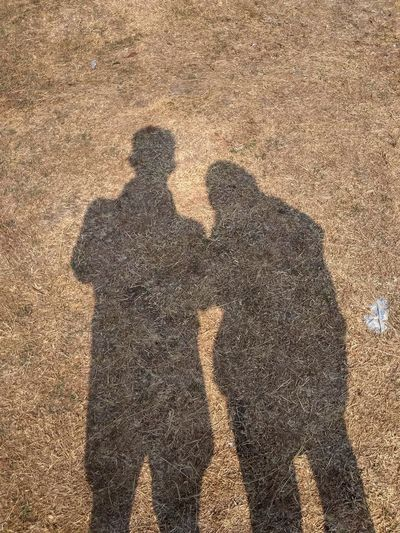 Shadow of couple on land