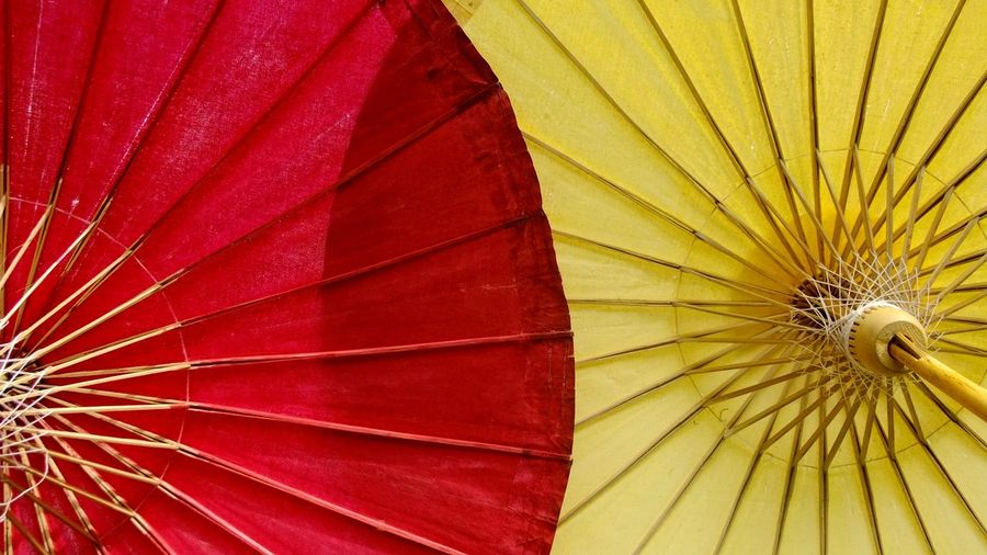 Backgrounds Close-up Colorful Colors Colours Day EyeEm EyeEm Gallery Eyeems Fanned Out Multi Colored No People One And Two Outdoor Outdoors Outside Pattern Red Red Yellow The Colour Of Life Two Umbella Collection Umberella Yellow