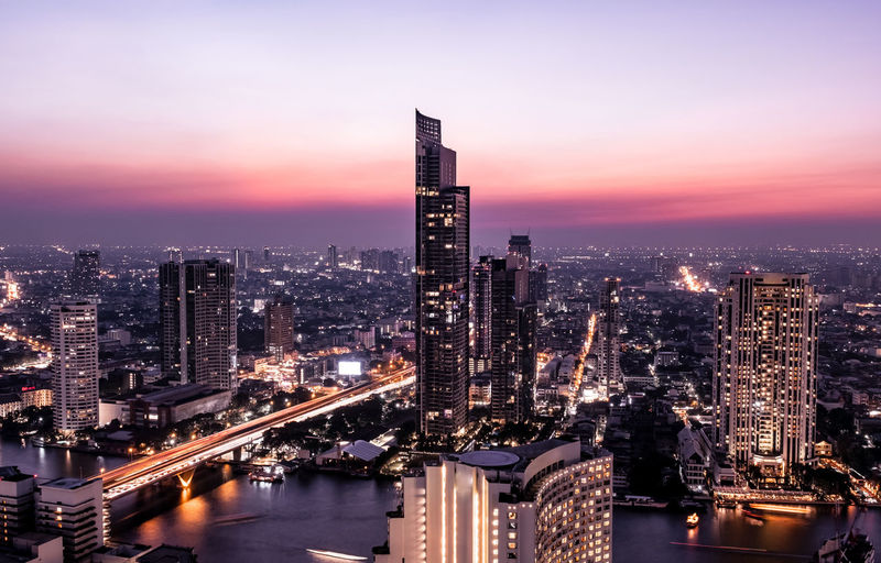 bangkok cityscape midnight view Bangkok Bangkok Thailand. Building Exterior Built Structure Architecture City Cityscape Building Office Building Exterior Illuminated Skyscraper Sky Sunset Dusk Landscape Urban Skyline Modern Tall - High Water Tower Transportation Nature No People Outdoors Financial District