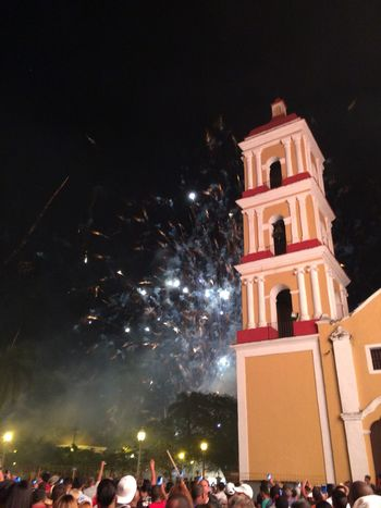 Parrandas de Remedios Architecture Building Exterior Celebration Firework Display Fireworks Illuminated Low Angle View Night No People Outdoors Place Of Worship Religion Sky Spirituality Travel Destinations