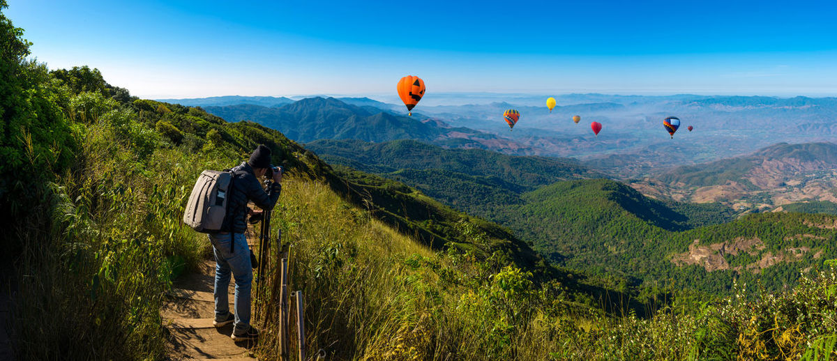 Panorama professional photographer take landscape photos by digital camera at topview on mountain ASIA Chiangmai Nature Thailand Tourist Travel Winter Adventure Backgrounds Backpack Balloon Forest Hi Hike Hot-air Balloon Journey Landscape Mountain Outdoors Photography Professional Shooting Sky Top View Wallpaper The Traveler - 2018 EyeEm Awards