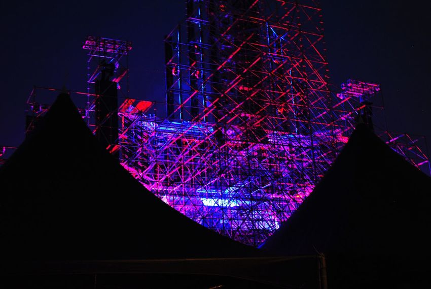 Night Architecture Illuminated Concert Festival Neon Stage