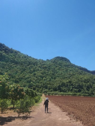 Rear view of man on mountain road against clear sky